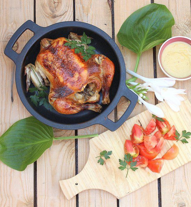 pollo asado con crema de cebolla y melocotón 1
