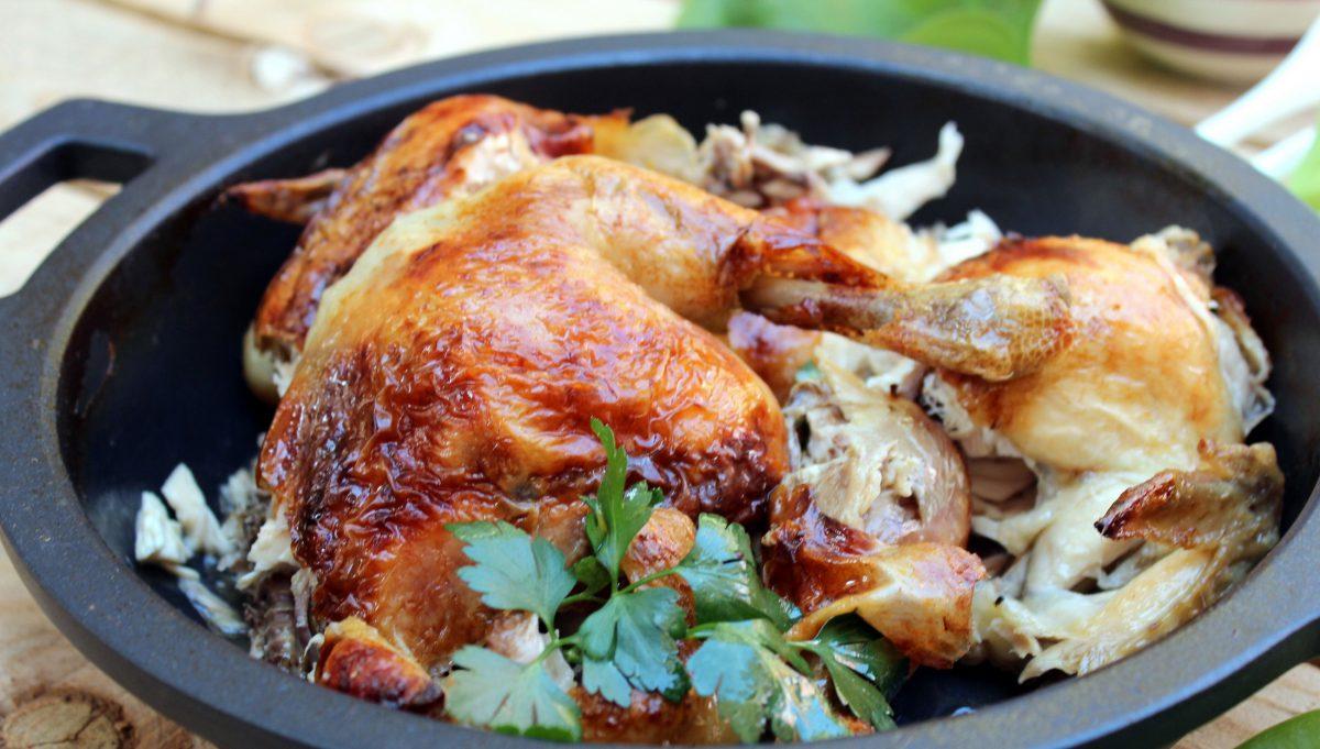 pollo asado con crema de cebolla y melocotón 5