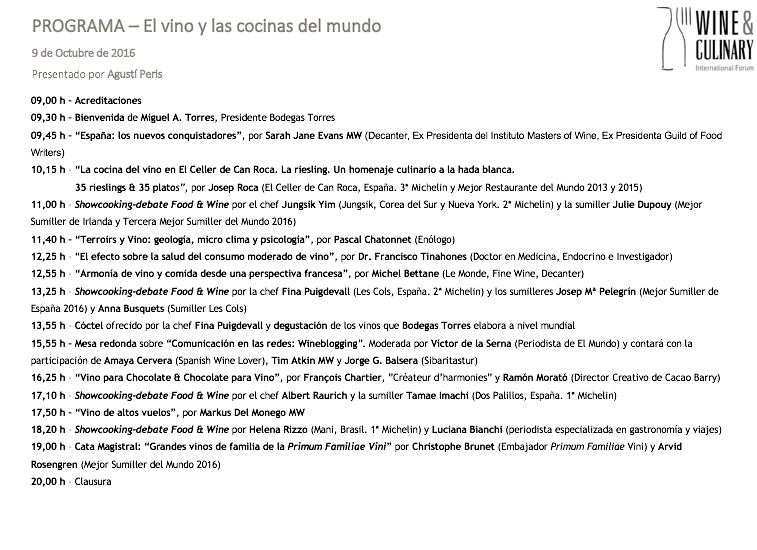 programa del III Wine & Culinary International Fórum