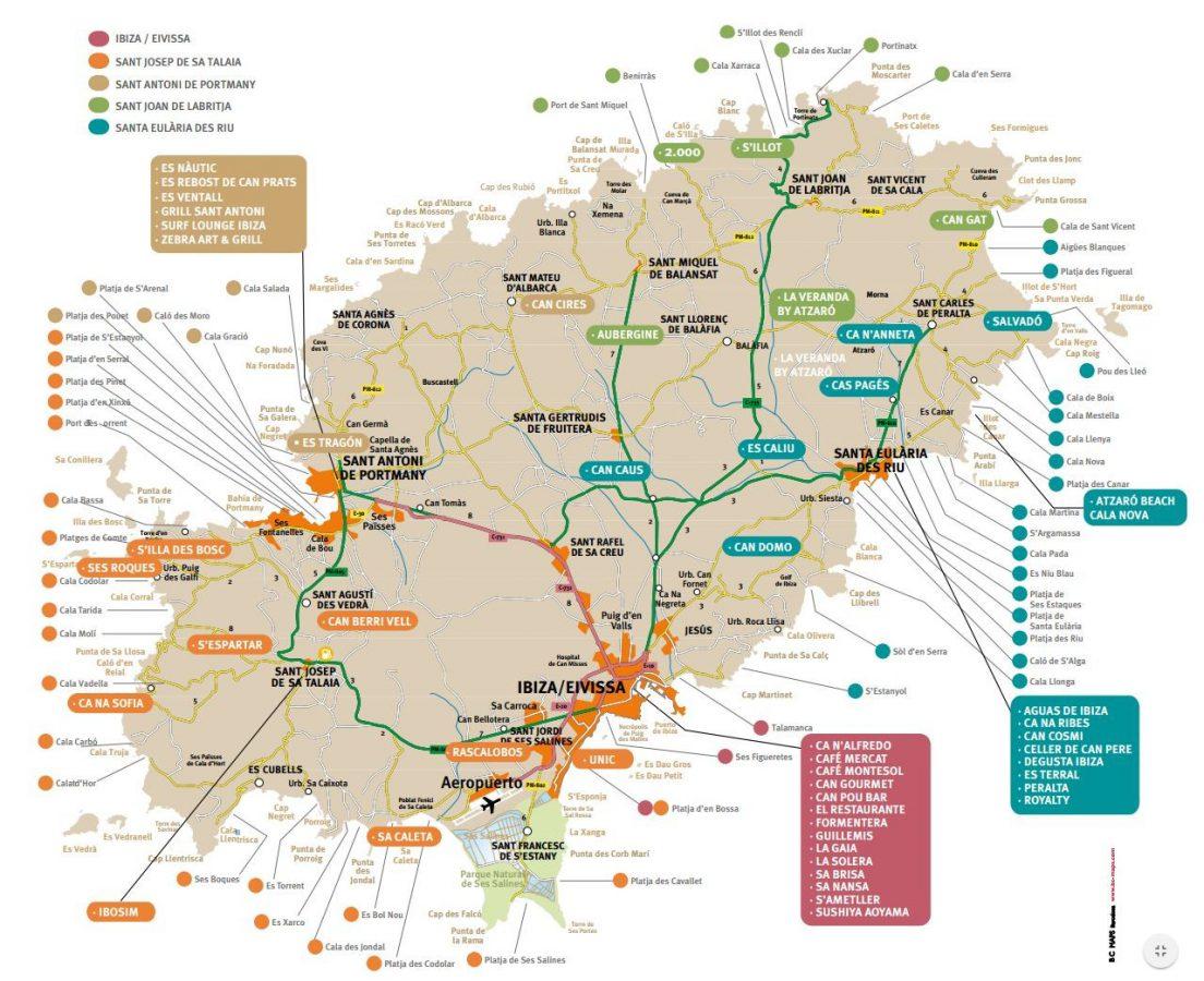 Mapa Jornadas Gastronómicas de primavera Ibiza Sabor 2017