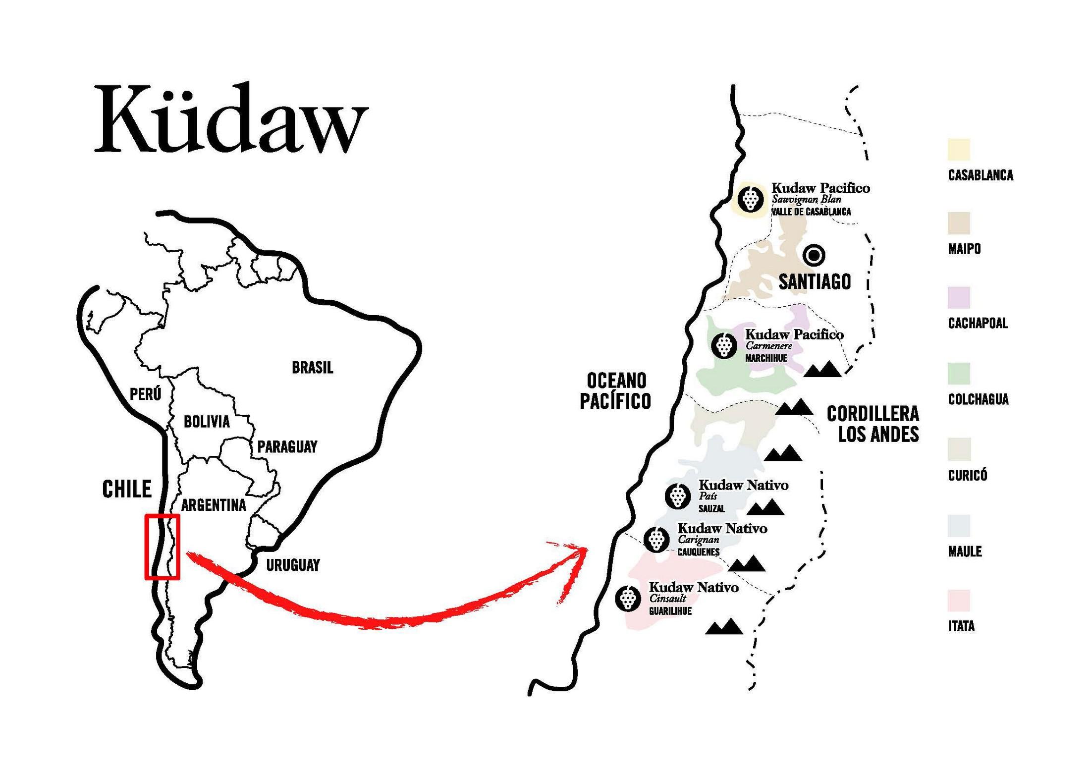 Mapa de Küdaw, los vinos chilenos de Vintae