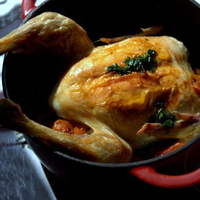 Pollo asado en cocotte