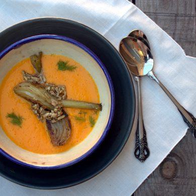crema de zanahoria con hinojo y piñones