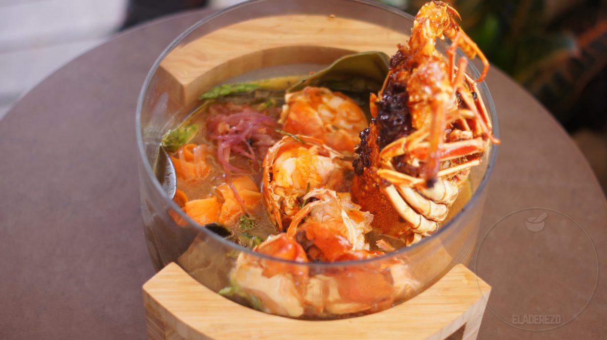 Embutidos marino y Langosta de Ibiza caramelizada (Andrea Alimenti de Restaurante Il Dek)